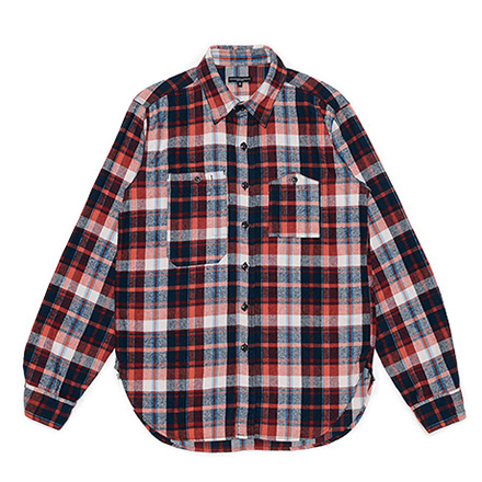Work Shirt-Plaid Flannel-Red×Navy×Turquoise