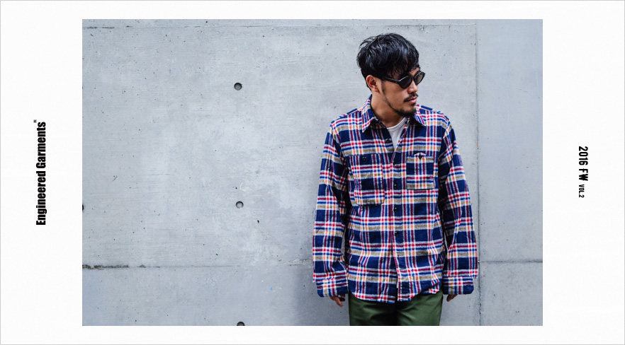 Work Shirt-Plaid Flannel-Navy×Red×Yellow